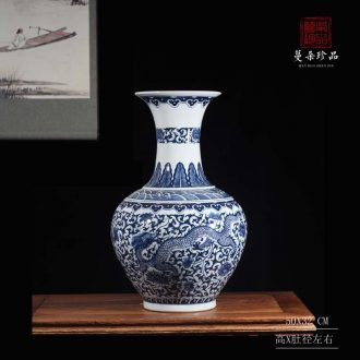 Longfeng grain blue and white tree hand-painted hand-painted longfeng grain blue and white porcelain vase atmosphere