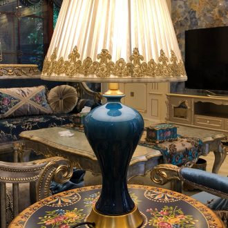 Ceramic lamp bedside lamp light the luxury of American contemporary and contracted bedroom whole copper new Chinese style european-style villa living room desk lamp