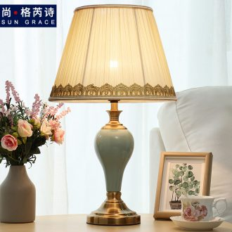 American ceramic small table lamp of bedroom the head of a bed idea marriage room warm European contracted and contemporary Nordic light lamps and lanterns of luxury