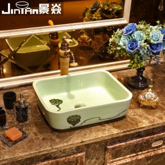 JingYan green lotus basin rectangle ceramic sinks Chinese art on the basin that wash a face on the sink