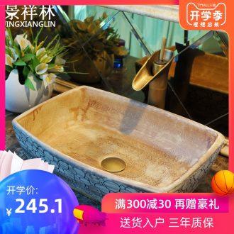 JingXiangLin european-style rectangle jingdezhen art basin lavatory sink the stage basin & ndash; Engraving circles
