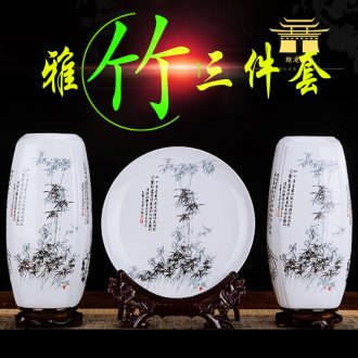 A three-piece jingdezhen ceramics vase furnishing articles lucky bamboo home wine ark adornment flower arrangement craft sitting room