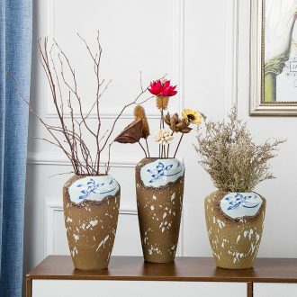 Jingdezhen handmade ceramic vases, dried flowers place to live in the living room table surface decoration is new Chinese style porch flower arrangement