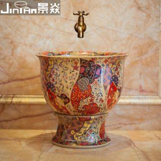 JingYan colourful art mop pool Europe type ceramic mop pool balcony toilet wash mop pool mop bucket