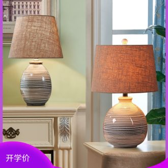 New Chinese style is contemporary and contracted ceramic desk lamp lamp of bedroom the head of a bed creative remote sitting room lamps and lanterns that move light sweet marriage