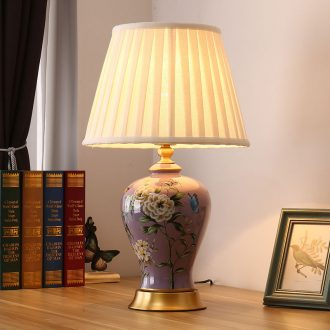 American desk lamp light new Chinese style of bedroom the head of a bed European rural marriage room painted flowers and birds remote control all copper ceramic lamp
