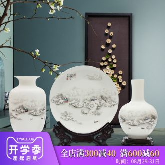 Jingdezhen ceramics vase three-piece furnishing articles flower arranging the modern Chinese style household adornment wine sitting room decoration