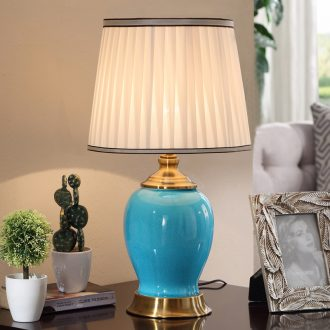 Long three American simple ceramic desk lamp continental warm home sitting room creative Nordic study bedroom lamps and lanterns of the head of a bed