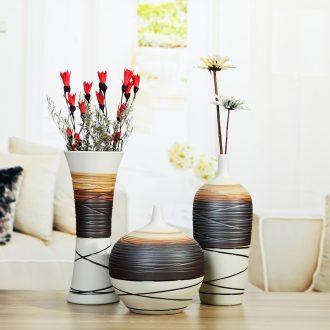Jingdezhen ceramic simple flower implement modern furnishing articles three-piece creative living room TV cabinet home decoration vase