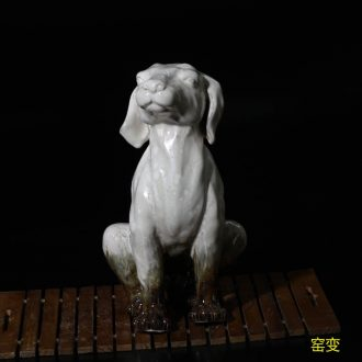 Jingdezhen porcelain furnishing articles furnishing articles three-dimensional sculpture German shepherd cute dogs standing guard German shepherd dog gatekeepers