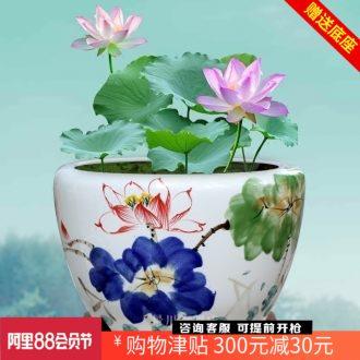 Jingdezhen hand-painted kiln goldfish bowl fish basin ceramic cylinder tortoise home sitting room courtyard office furnishing articles