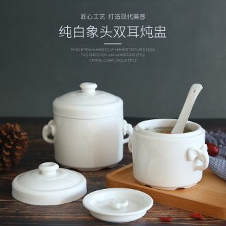 Ceramic water stew with small capacity double cover cover ears cup small steamed egg cup pot stew stewed bird's nest soup bowl