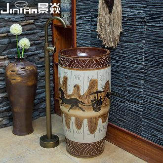 JingYan retro carriage art pillar basin ceramic basin of pillar type lavatory basin vertical lavabo one-piece column