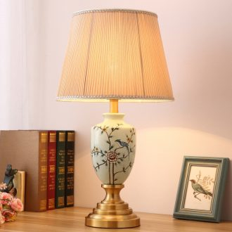 American pastoral lamp light Angle of sitting room sofa a few new Chinese style of bedroom the head of a bed Europe type restoring ancient ways all copper ceramic lamp