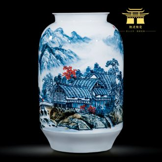 Jingdezhen ceramics celebrity hand-painted master of landscape painting landing big large vases, home furnishing articles sitting room