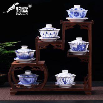 Restoring ancient ways leopard lam suet jade antique tureen large bowl cup three bowl of tea ceramic white porcelain large