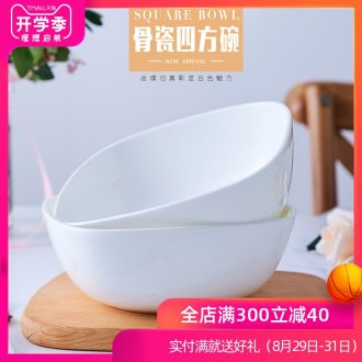Creative jingdezhen ceramic bowl of salad bowl bone porcelain white household sifang rainbow noodle bowl bowl personality microwave oven is available