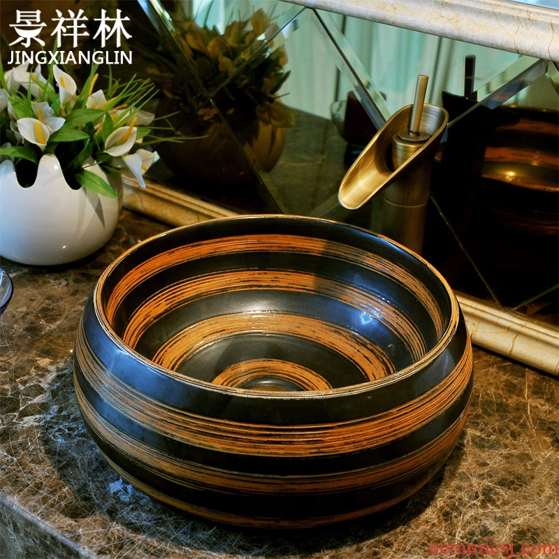JingXiangLin European contracted jingdezhen art basin lavatory sink the stage basin & ndash; The orange stripes