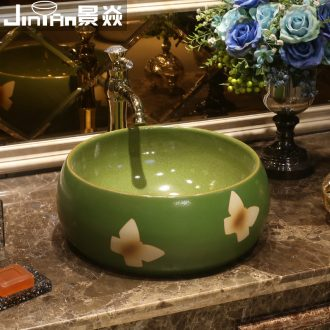 JingYan jade butterfly art stage basin round ceramic lavatory toilet basin on the sink