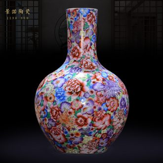 Jingdezhen ceramics archaize qing qianlong enamel colour flower vase the celestial sphere Chinese crafts are sitting room