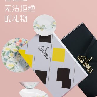 Jingdezhen dishes suit household wen gen one eat breakfast dishes sweethearts bowl festival ceramic tableware box