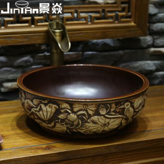 JingYan fly egret carving art stage basin of Chinese style of archaize ceramic lavabo lavatory restoring ancient ways round the stage