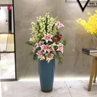 Ceramic simulation of large vase floral inserted dried flowers modern European modern Chinese style hotel villa large living room