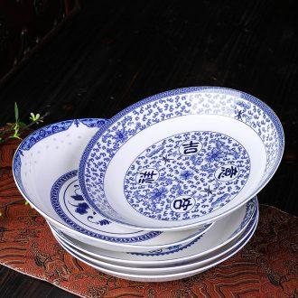 Jingdezhen ceramic household single bone soup plate plate plate plate son deep dish 0 blue and white porcelain plates