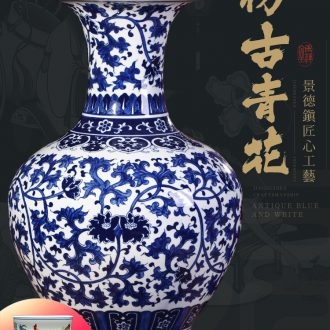 Hand-painted blue and white porcelain of jingdezhen ceramics of large vases, flower arranging new Chinese style household furnishing articles porch decoration