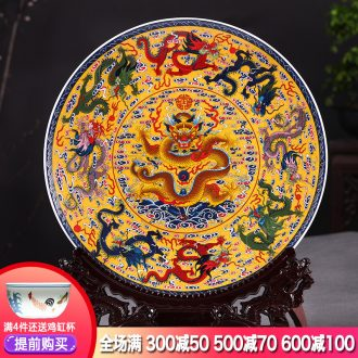 Hang dish of jingdezhen ceramics decoration plate feng shui Kowloon figure sitting room adornment is placed large Chinese style