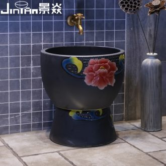 JingYan mop pool small colorful peony art ceramic mop pool balcony toilet wash mop pool floor mop bucket
