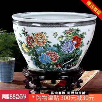 Jingdezhen ceramics powder enamel peony goldfish bowl lotus lotus cylinder cylinder cylinder tortoise home decoration big furnishing articles