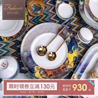 Cutlery set bowl dish home European contracted jingdezhen ceramic bowls of high-grade luxury bone disc set combination