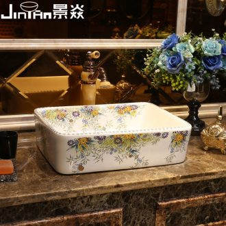 JingYan colorful garden art stage basin ceramic lavatory rectangular basin artical on the sink