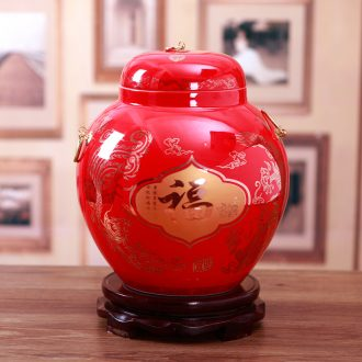 Jingdezhen ceramics China red Chinese general storage tank vase sitting room adornment is placed a wedding gift