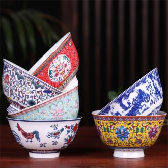 Jingdezhen ceramic bowl a single high against the iron rice bowl Chinese instant noodle soup dishes suit household antique bowl of long life