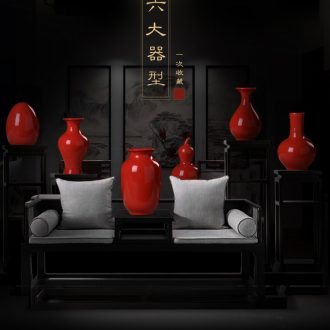 Jingdezhen ceramics red porcelain vase flower arranging furnishing articles home wine cabinet TV ark type sitting room adornment