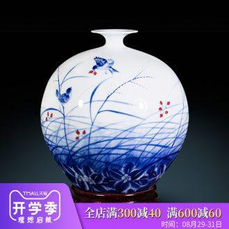 Jingdezhen ceramic pomegranate hand blue and white porcelain vases, flower arrangement sitting room place Chinese master home porch decoration