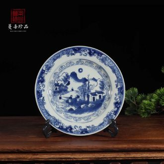 Jingdezhen kangxi in the qing dynasty blue and white porcelain porcelain decorative porcelain hand-painted high-grade character picture