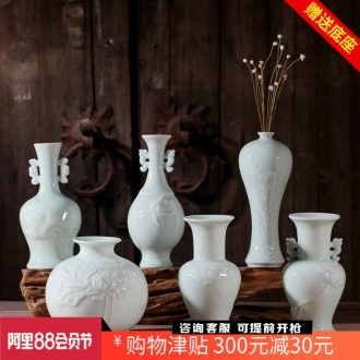 Jingdezhen hydroponic flowers carved flowers inserted manual ceramic vases, flower implement home furnishing articles adornment ornament