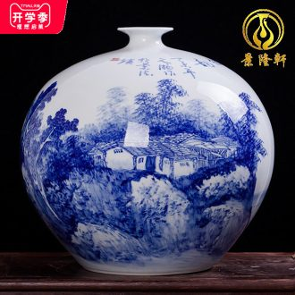 Jingdezhen ceramics famous Wu Wenhan hand-painted blue and white porcelain vase pomegranate landscape classical collection certificate