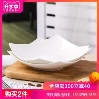 Jingdezhen tableware pure white ceramic plate salad plate household pasta square plate bone porcelain dish dish dish newborn