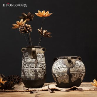 Vintage vase earthenware jar flower POTS dry flower arranging flowers zen ceramic flower implement coarse pottery of primitive simplicity furnishing articles