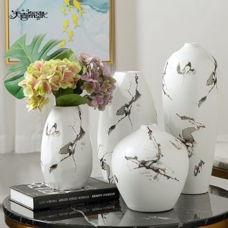 New Chinese style ceramic vase furnishing articles suit ink style white flower arranging the sitting room the postmodern ideas soft decoration
