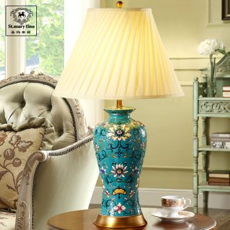 Santa marta American sitting room bedroom berth lamp European rural new Chinese style restoring ancient ways full copper powder enamel porcelain tea table lamp