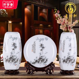 Ceramics square vase furnishing articles lucky bamboo flower arranging a three-piece home sitting room TV ark adornment handicraft