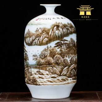 Jingdezhen ceramics landscape hand-painted vases, flower arranging furnishing articles study of new Chinese style household act the role ofing is tasted sitting room porch