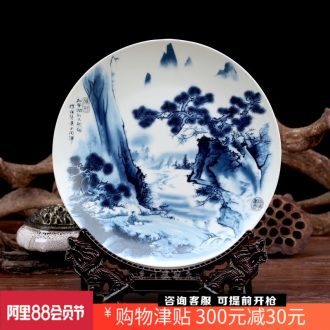 Blue and white porcelain of jingdezhen ceramic hang dish setting wall decorative plate of modern home desk office furnishing articles of handicraft