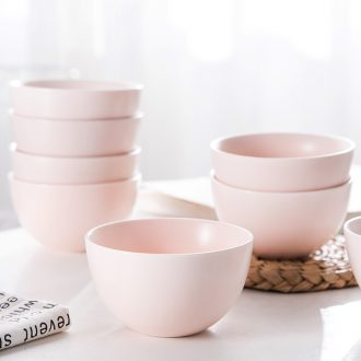 Household bowl 10 suit your job home lovely pink ceramic bowl bowl individuality creative Nordic bowl dessert small bowl