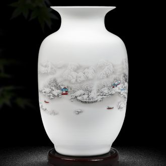 Jingdezhen ceramics floret bottle home furnishing articles dried flower arranging flowers Chinese style living room TV cabinet handicraft